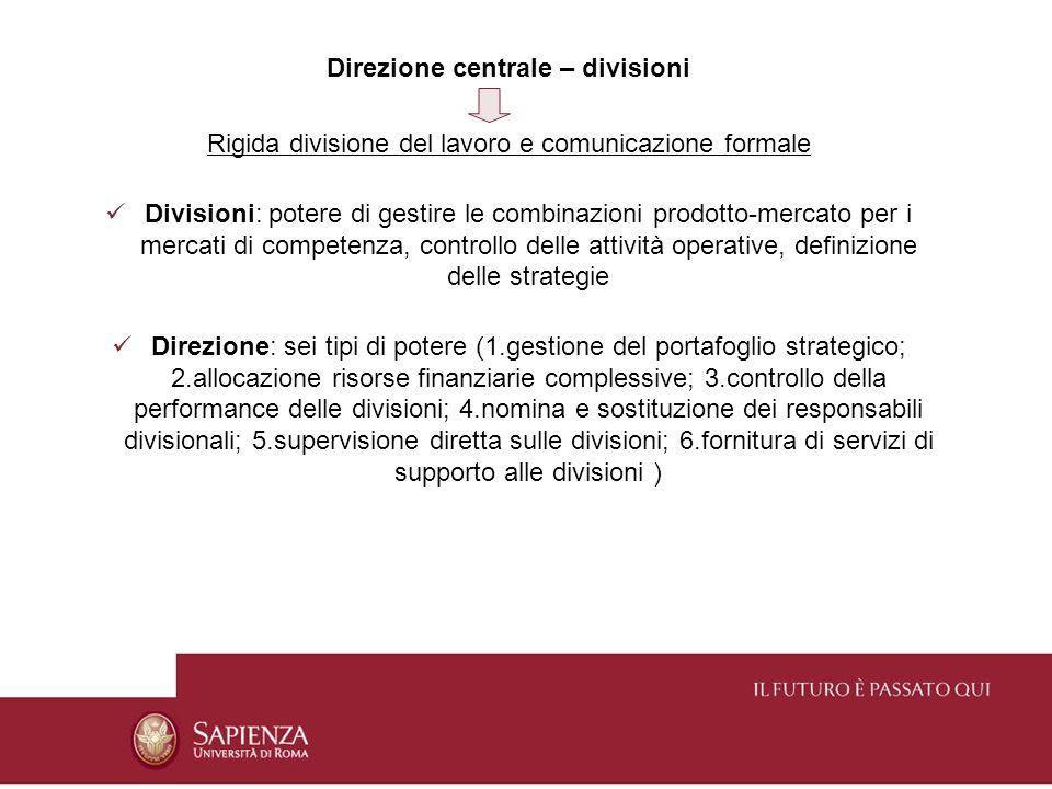 Direzione centrale – divisioni Rigida divisione del lavoro e comunicazione formale Divisioni: potere di gestire le combinazioni prodotto-mercato per i