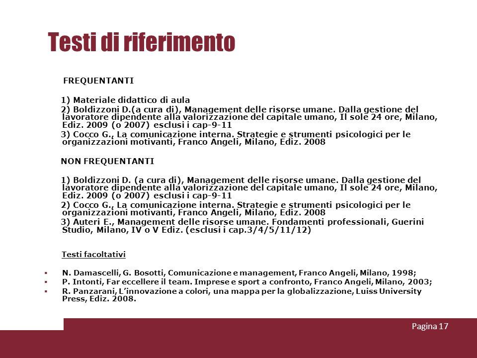 Testi di riferimento FREQUENTANTI 1) Materiale didattico di aula 2) Boldizzoni D.(a cura di), Management delle risorse umane.