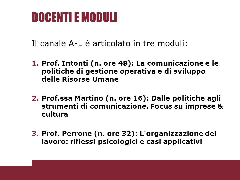 DOCENTI E MODULI Il canale A-L è articolato in tre moduli: 1.Prof.
