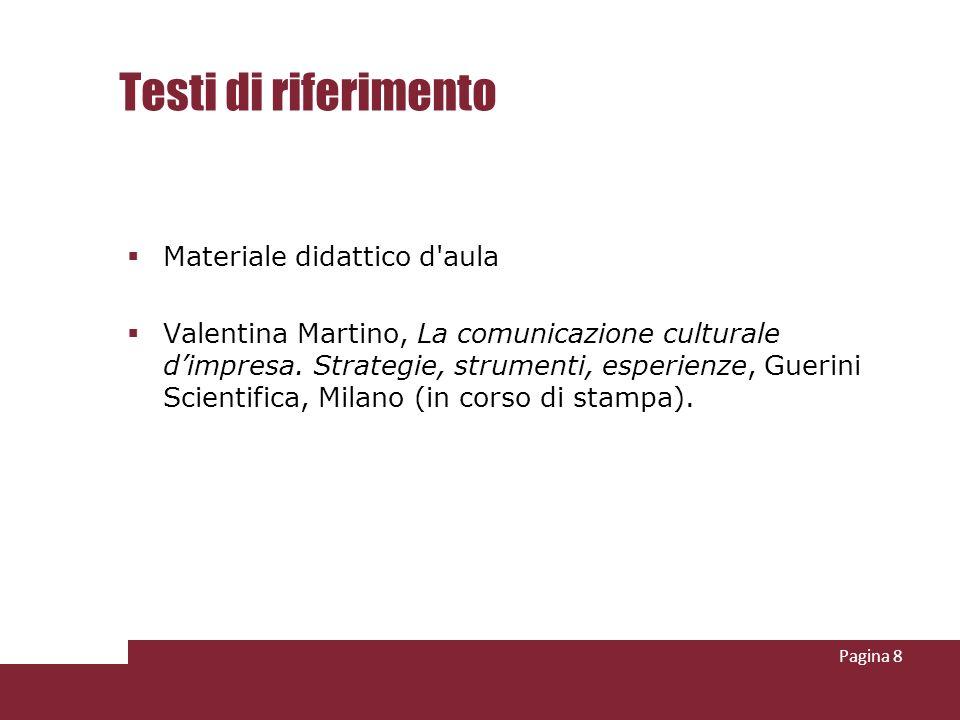 Testi di riferimento Materiale didattico d aula Valentina Martino, La comunicazione culturale dimpresa.
