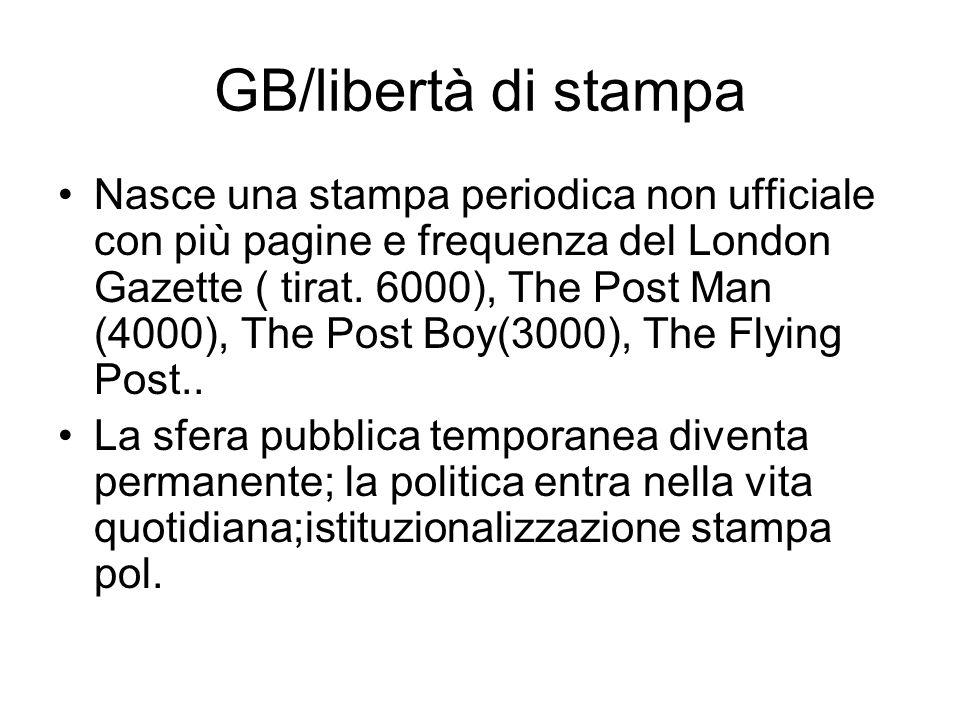 GB/libertà di stampa Nasce una stampa periodica non ufficiale con più pagine e frequenza del London Gazette ( tirat. 6000), The Post Man (4000), The P
