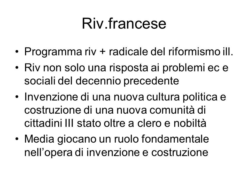 Riv.francese Programma riv + radicale del riformismo ill. Riv non solo una risposta ai problemi ec e sociali del decennio precedente Invenzione di una