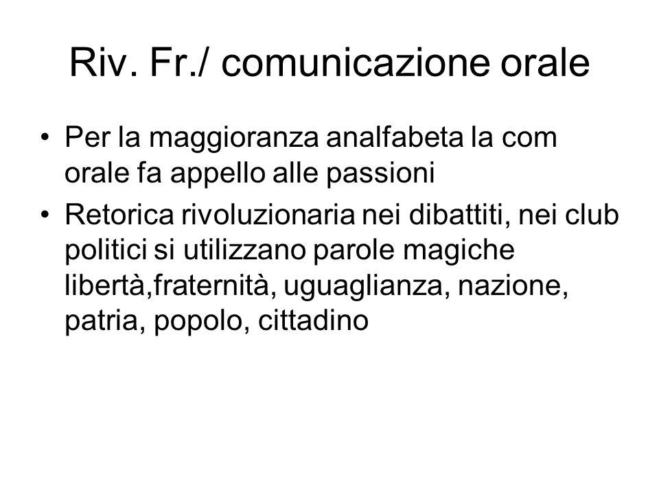Riv. Fr./ comunicazione orale Per la maggioranza analfabeta la com orale fa appello alle passioni Retorica rivoluzionaria nei dibattiti, nei club poli