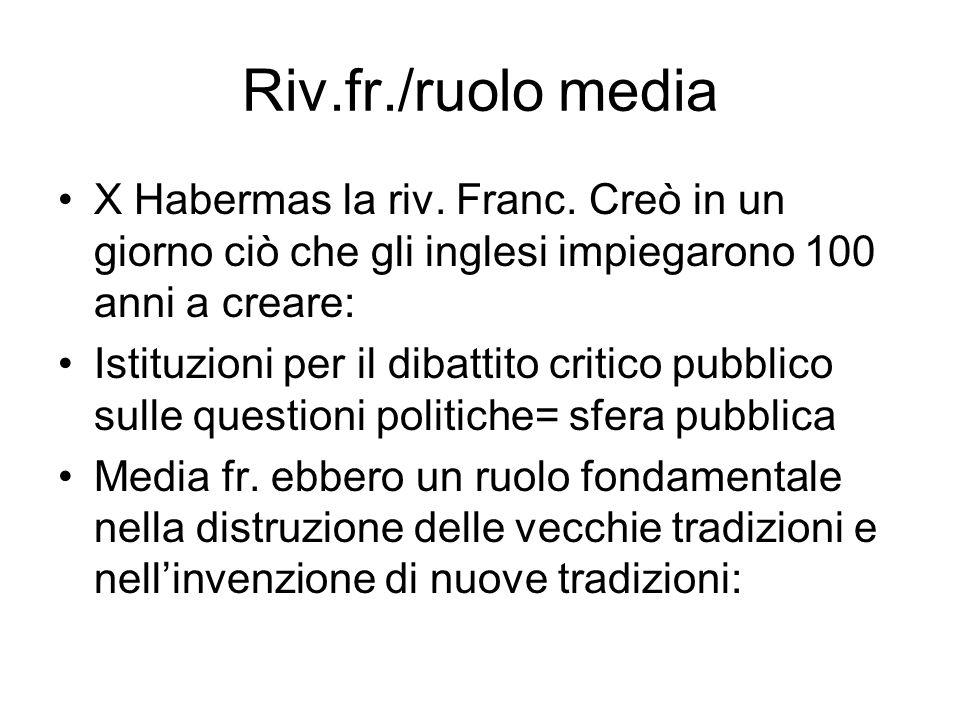 Riv.fr./ruolo media X Habermas la riv. Franc. Creò in un giorno ciò che gli inglesi impiegarono 100 anni a creare: Istituzioni per il dibattito critic