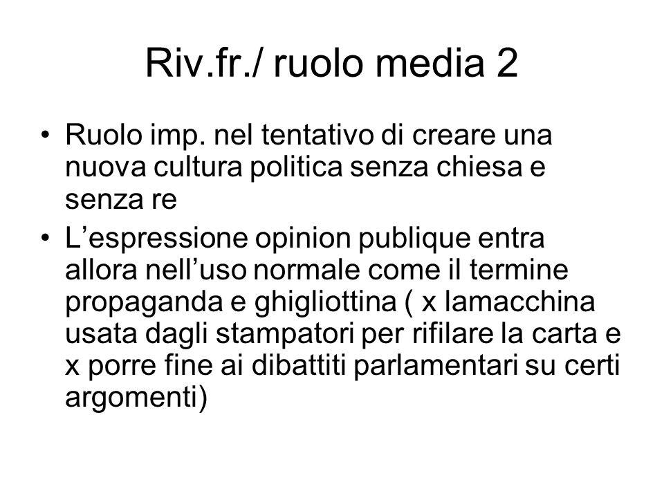 Riv.fr./ ruolo media 2 Ruolo imp. nel tentativo di creare una nuova cultura politica senza chiesa e senza re Lespressione opinion publique entra allor