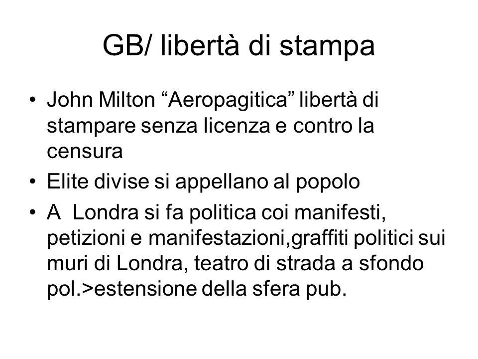 GB/ libertà di stampa John Milton Aeropagitica libertà di stampare senza licenza e contro la censura Elite divise si appellano al popolo A Londra si f
