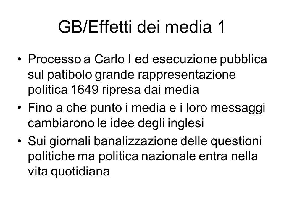 GB/Effetti dei media 1 Processo a Carlo I ed esecuzione pubblica sul patibolo grande rappresentazione politica 1649 ripresa dai media Fino a che punto