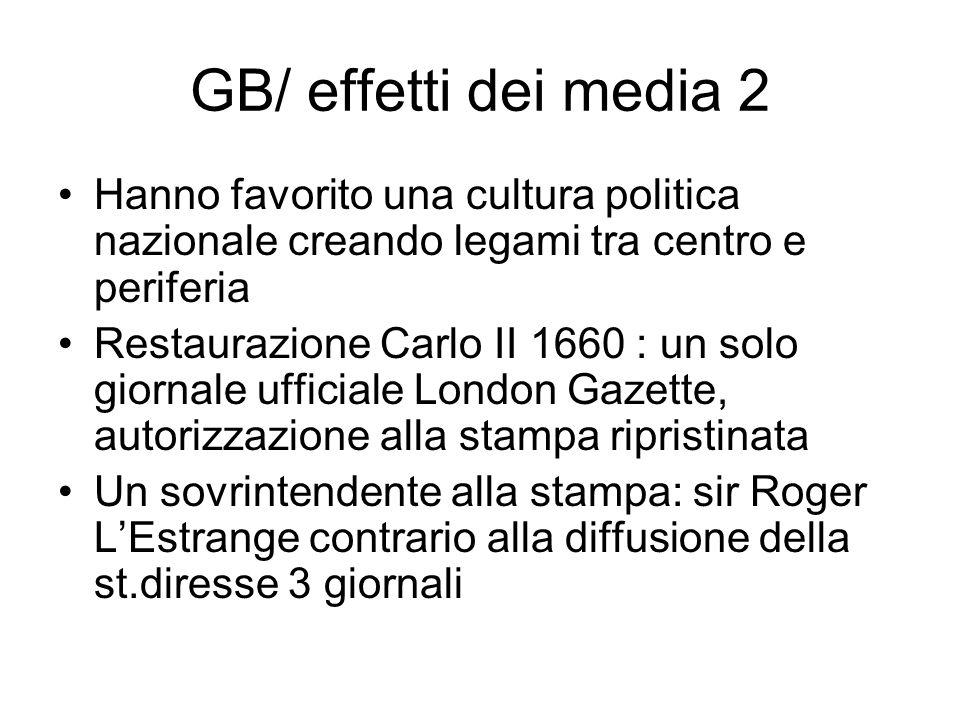 GB/ effetti dei media 2 Hanno favorito una cultura politica nazionale creando legami tra centro e periferia Restaurazione Carlo II 1660 : un solo gior