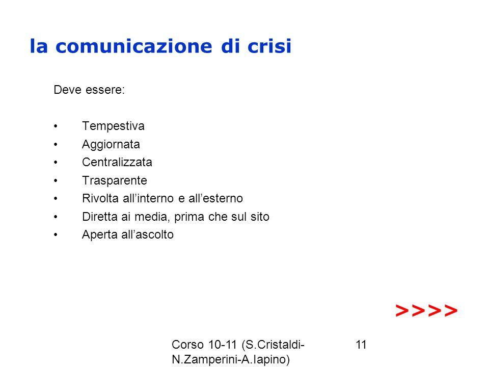 Corso 10-11 (S.Cristaldi- N.Zamperini-A.Iapino) 11 la comunicazione di crisi Deve essere: Tempestiva Aggiornata Centralizzata Trasparente Rivolta alli