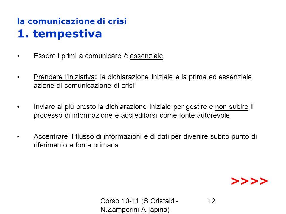 Corso 10-11 (S.Cristaldi- N.Zamperini-A.Iapino) 12 la comunicazione di crisi 1. tempestiva Essere i primi a comunicare è essenziale Prendere liniziati
