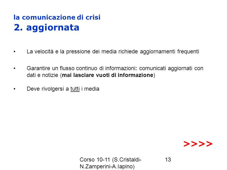 Corso 10-11 (S.Cristaldi- N.Zamperini-A.Iapino) 13 la comunicazione di crisi 2. aggiornata La velocità e la pressione dei media richiede aggiornamenti