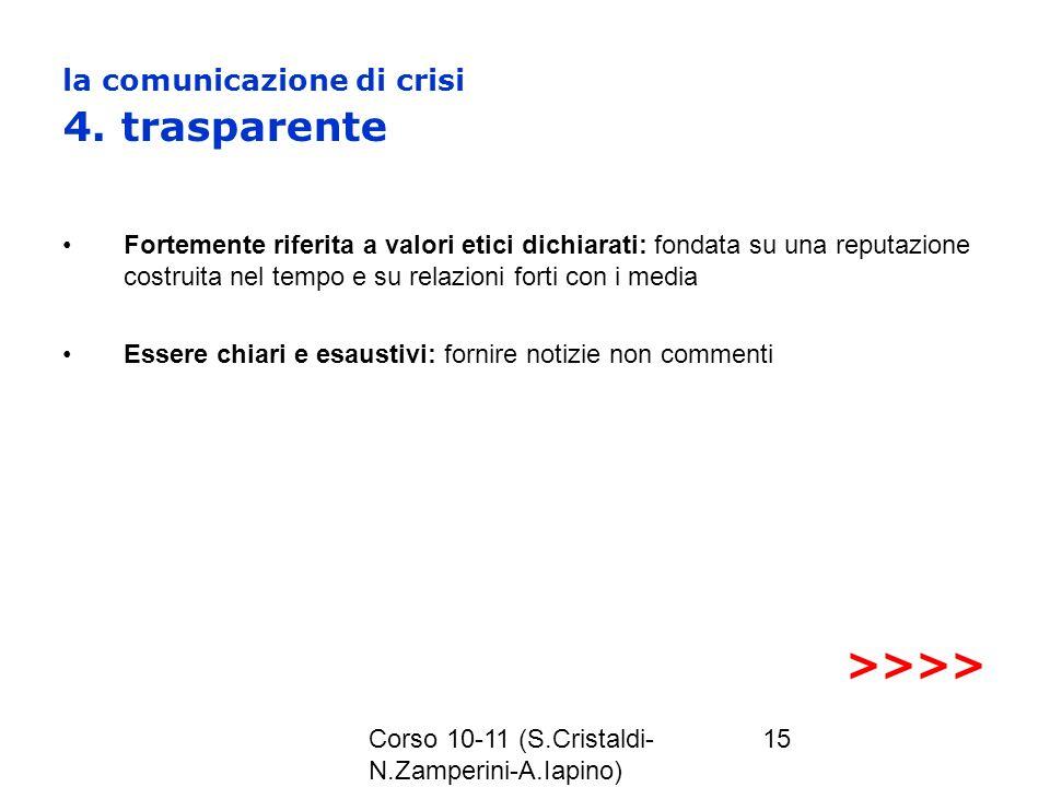 Corso 10-11 (S.Cristaldi- N.Zamperini-A.Iapino) 15 la comunicazione di crisi 4. trasparente Fortemente riferita a valori etici dichiarati: fondata su