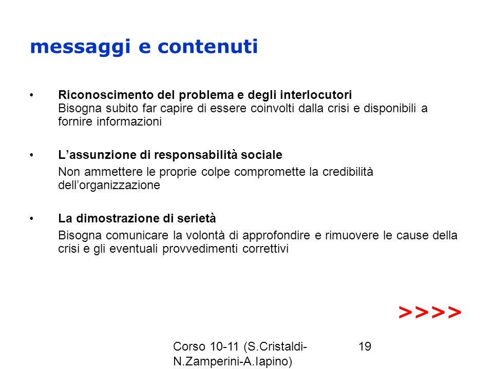 Corso 10-11 (S.Cristaldi- N.Zamperini-A.Iapino) 19 messaggi e contenuti Riconoscimento del problema e degli interlocutori Bisogna subito far capire di