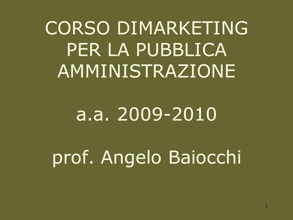 CORSO DIMARKETING PER LA PUBBLICA AMMINISTRAZIONE a.a. 2009-2010 prof. Angelo Baiocchi 1
