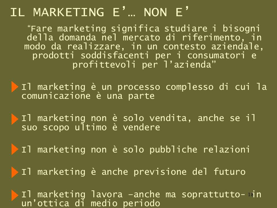 IL MARKETING E… NON E Fare marketing significa studiare i bisogni della domanda nel mercato di riferimento, in modo da realizzare, in un contesto aziendale, prodotti soddisfacenti per i consumatori e profittevoli per lazienda Il marketing è un processo complesso di cui la comunicazione è una parte Il marketing non è solo vendita, anche se il suo scopo ultimo è vendere Il marketing non è solo pubbliche relazioni Il marketing è anche previsione del futuro Il marketing lavora –anche ma soprattutto- in unottica di medio periodo 18