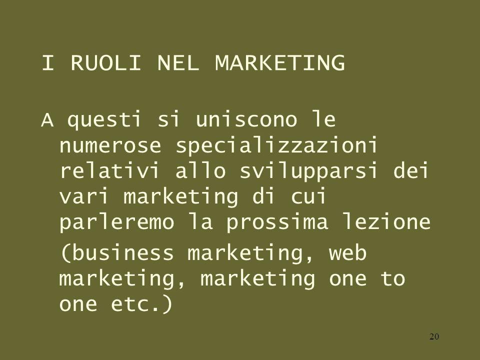 I RUOLI NEL MARKETING A questi si uniscono le numerose specializzazioni relativi allo svilupparsi dei vari marketing di cui parleremo la prossima lezione (business marketing, web marketing, marketing one to one etc.) 20
