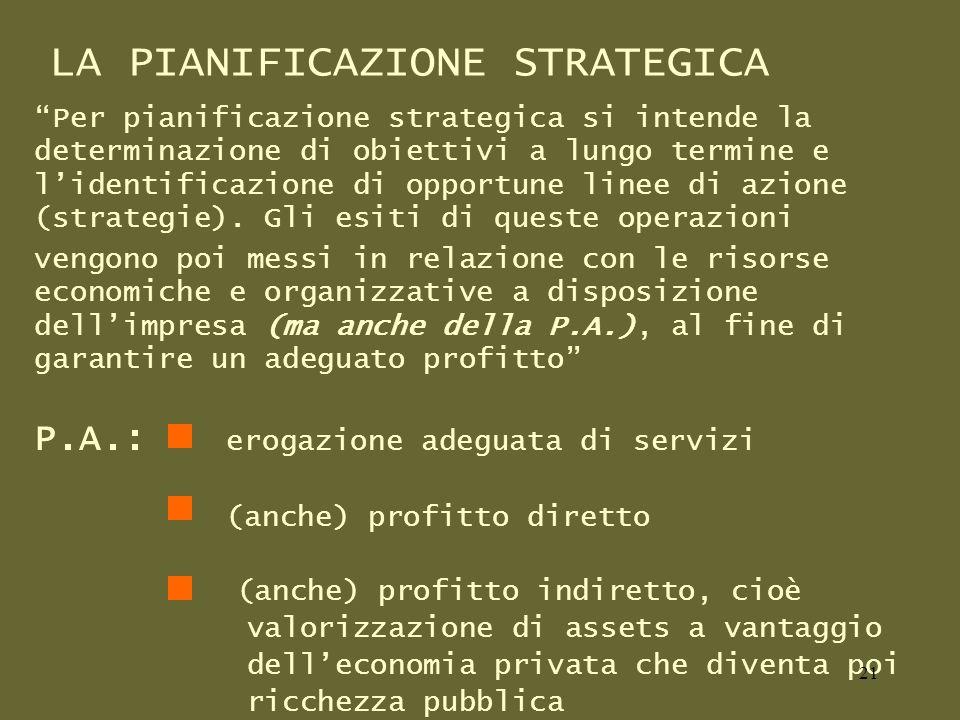 LA PIANIFICAZIONE STRATEGICA Per pianificazione strategica si intende la determinazione di obiettivi a lungo termine e lidentificazione di opportune linee di azione (strategie).