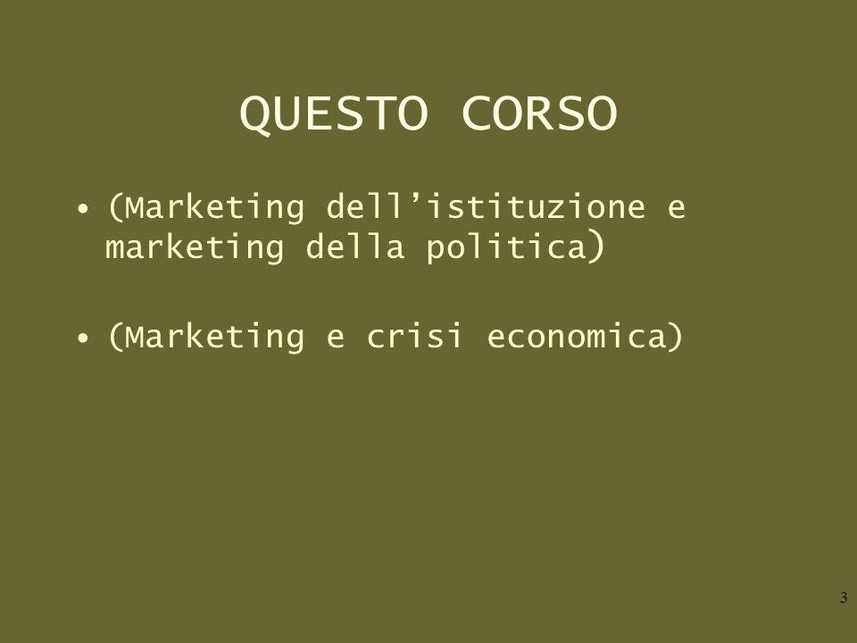 QUESTO CORSO (Marketing dellistituzione e marketing della politica ) (Marketing e crisi economica) 3