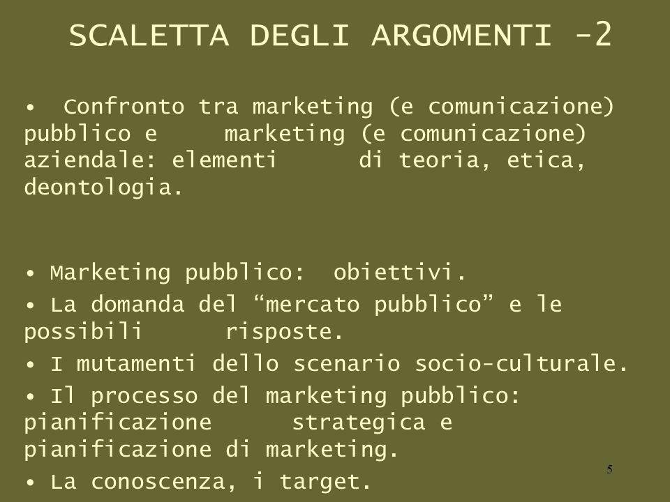 SCALETTA DEGLI ARGOMENTI -2 Confronto tra marketing (e comunicazione) pubblico e marketing (e comunicazione) aziendale: elementi di teoria, etica, deontologia.