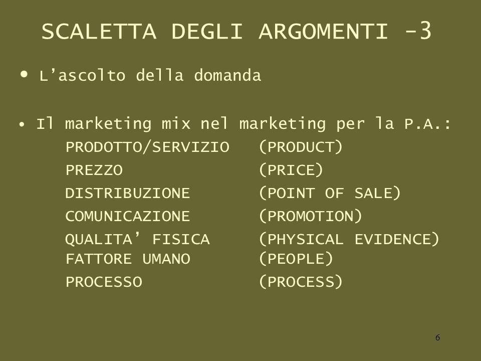 SCALETTA DEGLI ARGOMENTI -3 Lascolto della domanda Il marketing mix nel marketing per la P.A.: PRODOTTO/SERVIZIO(PRODUCT) PREZZO (PRICE) DISTRIBUZIONE(POINT OF SALE) COMUNICAZIONE(PROMOTION) QUALITA FISICA(PHYSICAL EVIDENCE) FATTORE UMANO(PEOPLE) PROCESSO(PROCESS) 6