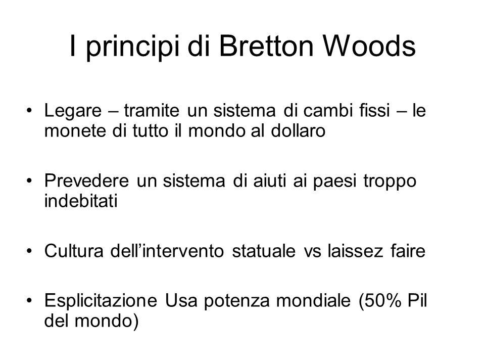 I principi di Bretton Woods Legare – tramite un sistema di cambi fissi – le monete di tutto il mondo al dollaro Prevedere un sistema di aiuti ai paesi