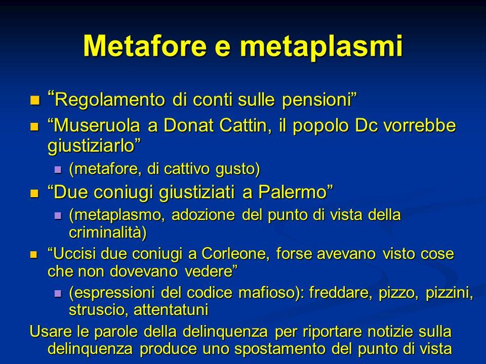 Metafore e metaplasmi Regolamento di conti sulle pensioni Regolamento di conti sulle pensioni Museruola a Donat Cattin, il popolo Dc vorrebbe giustizi