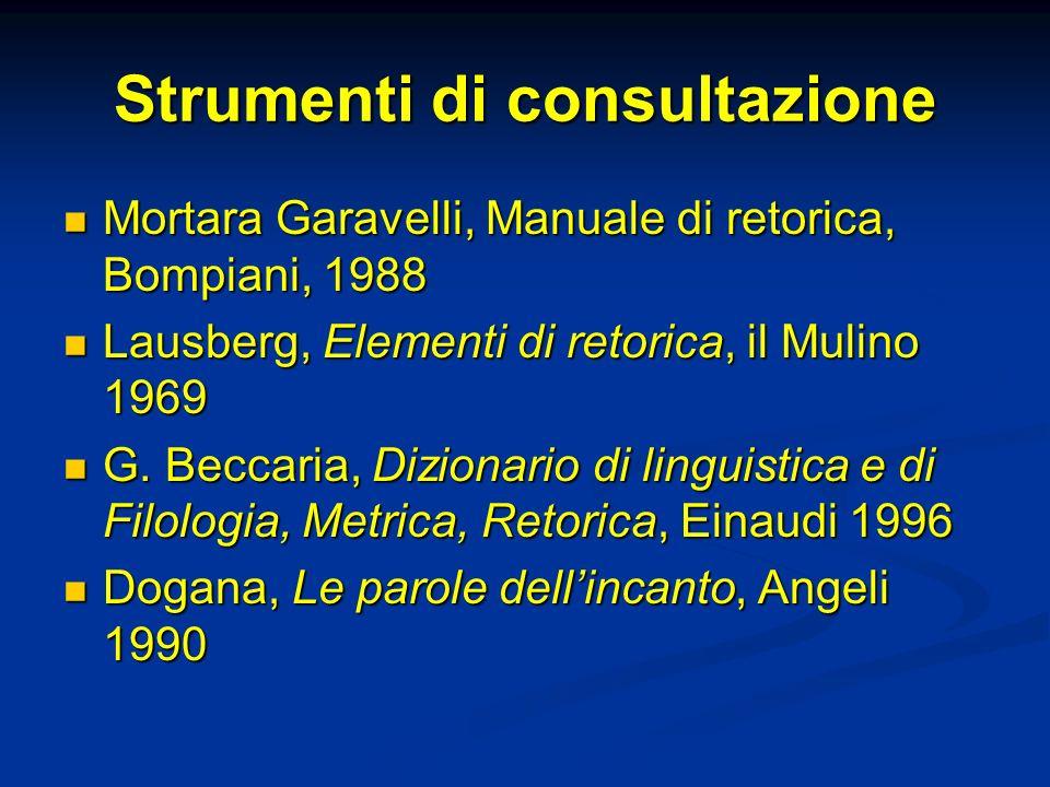Strumenti di consultazione Mortara Garavelli, Manuale di retorica, Bompiani, 1988 Mortara Garavelli, Manuale di retorica, Bompiani, 1988 Lausberg, Ele
