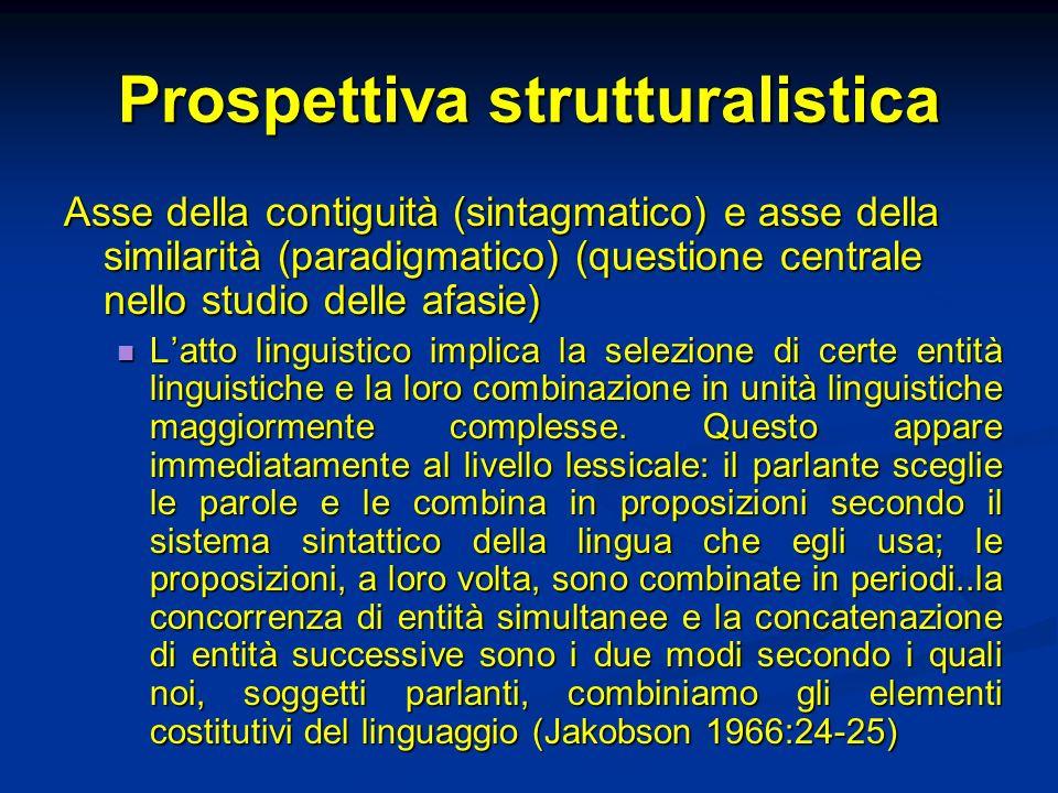 Prospettiva strutturalistica Asse della contiguità (sintagmatico) e asse della similarità (paradigmatico) (questione centrale nello studio delle afasi