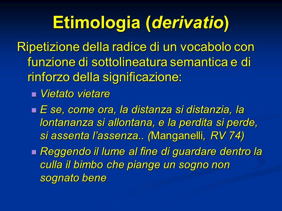 Etimologia (derivatio) Ripetizione della radice di un vocabolo con funzione di sottolineatura semantica e di rinforzo della significazione: Vietato vi