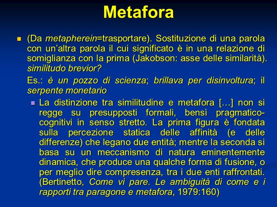 Metafora (Da metapherein=trasportare). Sostituzione di una parola con unaltra parola il cui significato è in una relazione di somiglianza con la prima