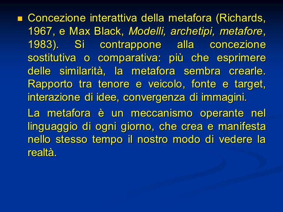 Concezione interattiva della metafora (Richards, 1967, e Max Black, Modelli, archetipi, metafore, 1983). Si contrappone alla concezione sostitutiva o