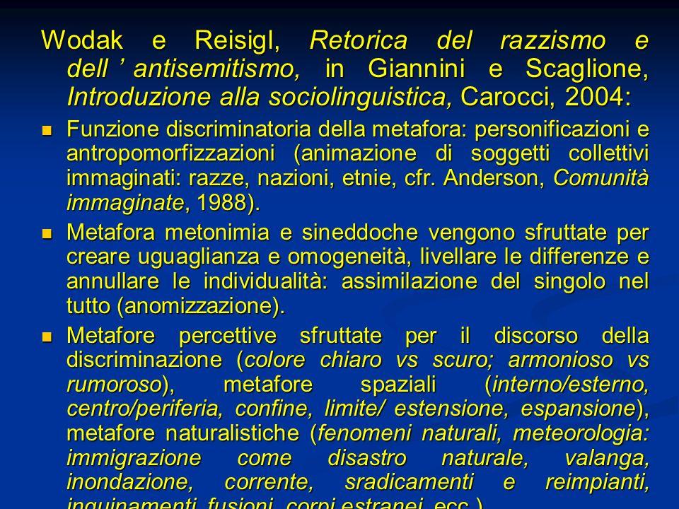 Wodak e Reisigl, Retorica del razzismo e dellantisemitismo, in Giannini e Scaglione, Introduzione alla sociolinguistica, Carocci, 2004: Funzione discr