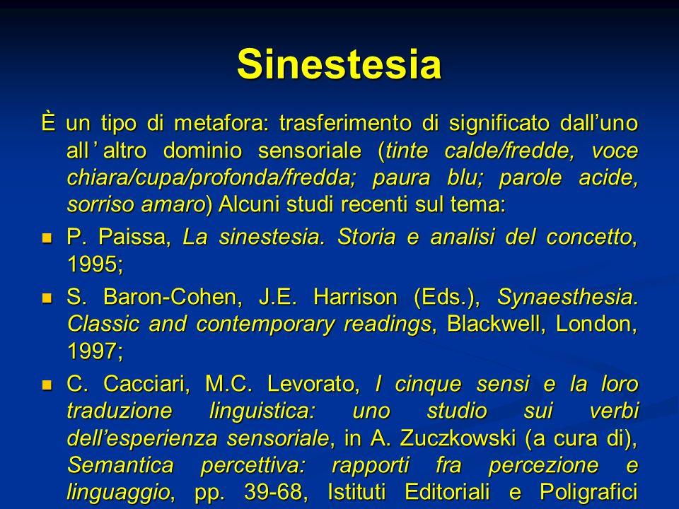 Sinestesia È un tipo di metafora: trasferimento di significato dalluno allaltro dominio sensoriale (tinte calde/fredde, voce chiara/cupa/profonda/fred