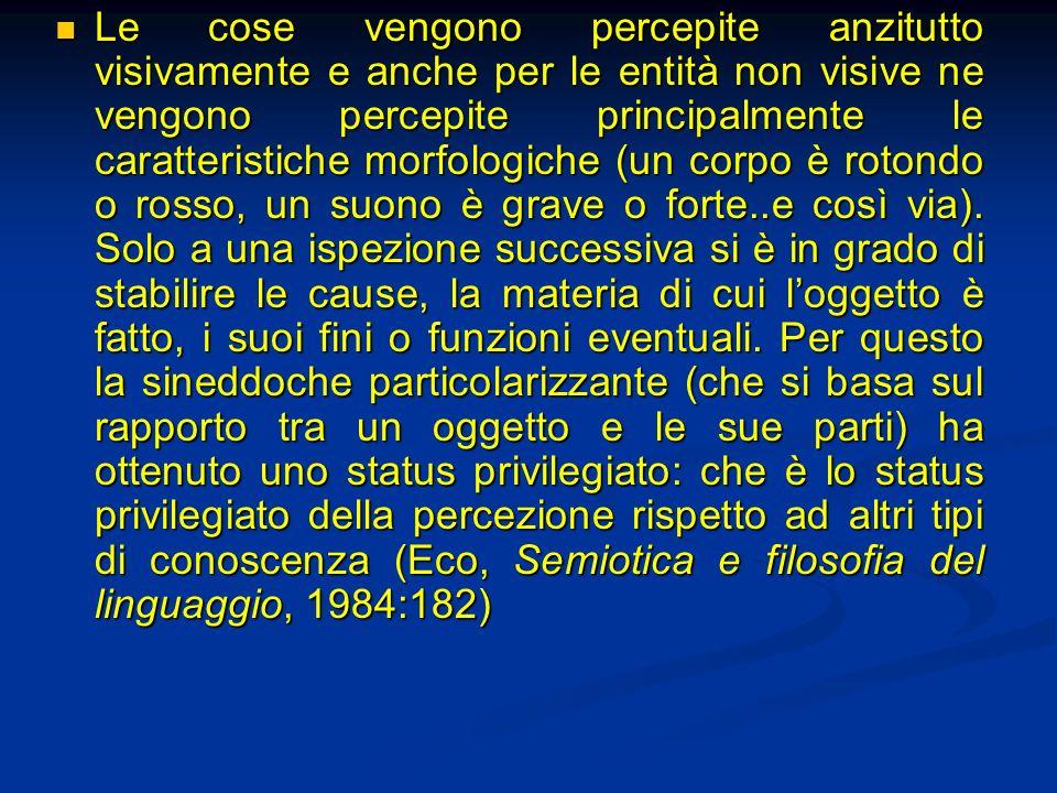 Le cose vengono percepite anzitutto visivamente e anche per le entità non visive ne vengono percepite principalmente le caratteristiche morfologiche (