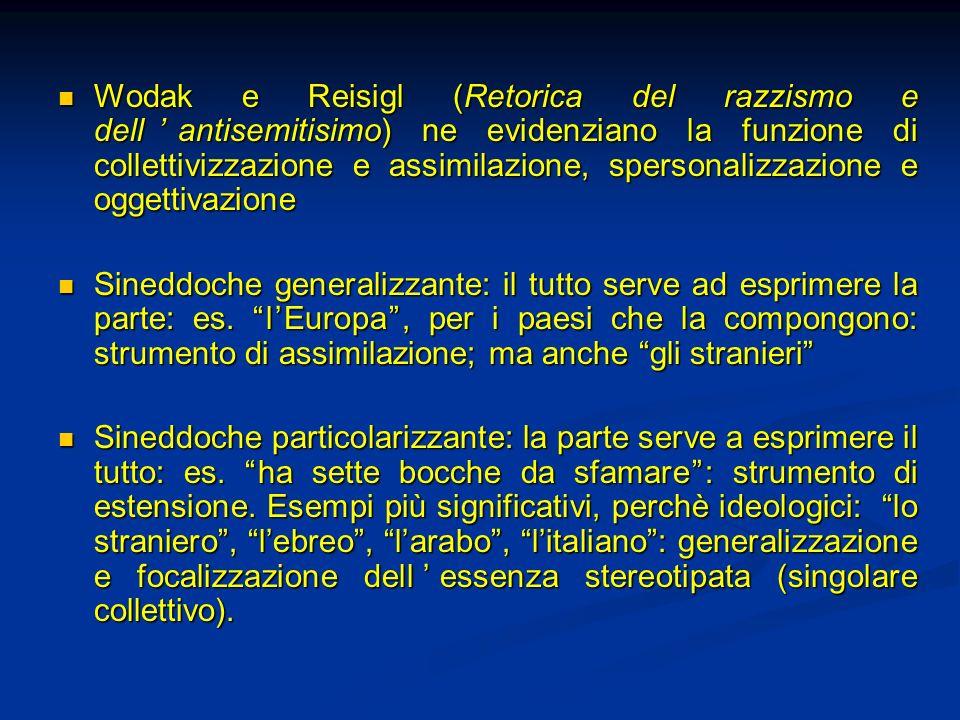 Wodak e Reisigl (Retorica del razzismo e dellantisemitisimo) ne evidenziano la funzione di collettivizzazione e assimilazione, spersonalizzazione e og