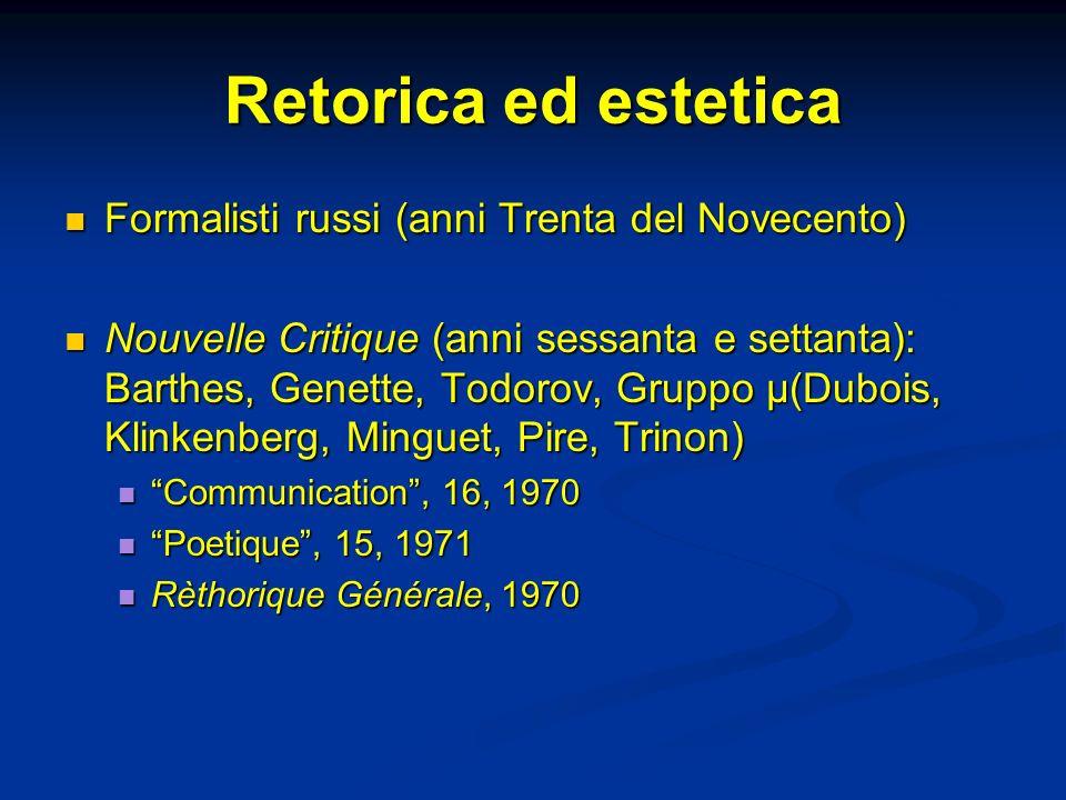 Retorica ed estetica Formalisti russi (anni Trenta del Novecento) Formalisti russi (anni Trenta del Novecento) Nouvelle Critique (anni sessanta e sett