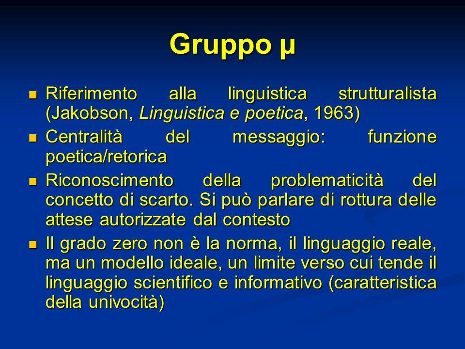Gruppo µ Riferimento alla linguistica strutturalista (Jakobson, Linguistica e poetica, 1963) Riferimento alla linguistica strutturalista (Jakobson, Li