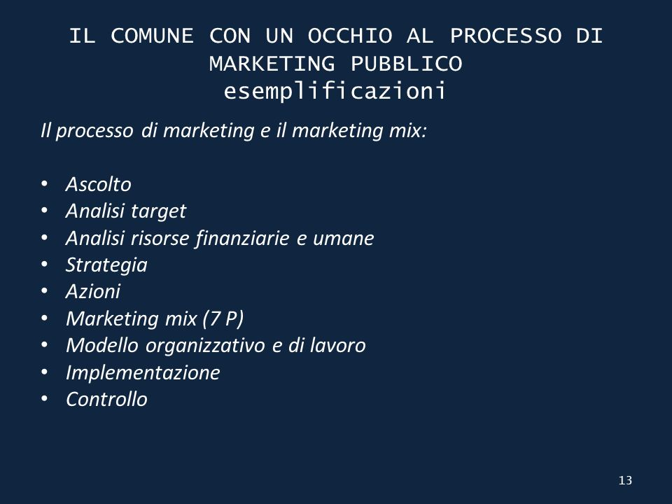 IL COMUNE CON UN OCCHIO AL PROCESSO DI MARKETING PUBBLICO esemplificazioni Il processo di marketing e il marketing mix: Ascolto Analisi target Analisi