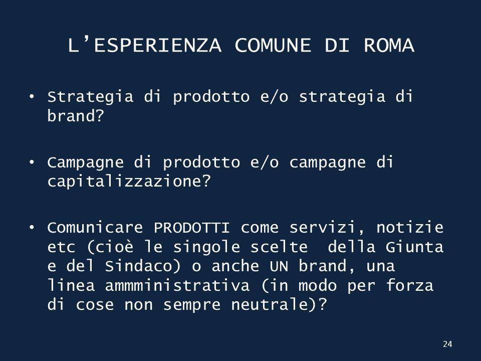 LESPERIENZA COMUNE DI ROMA Strategia di prodotto e/o strategia di brand.