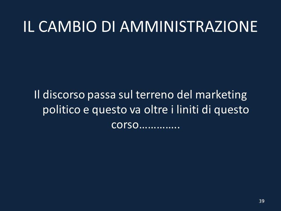 IL CAMBIO DI AMMINISTRAZIONE Il discorso passa sul terreno del marketing politico e questo va oltre i liniti di questo corso…………..