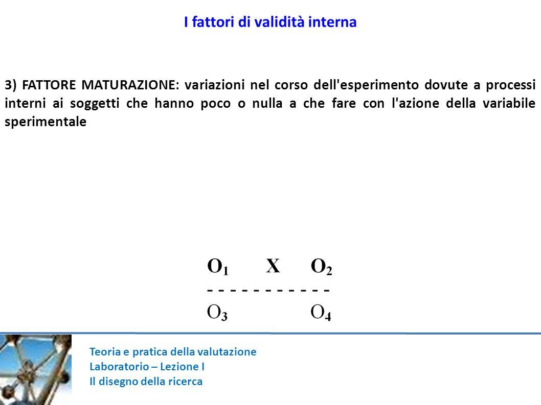 Teoria e pratica della valutazione Laboratorio – Lezione I Il disegno della ricerca I fattori di validità interna 3) FATTORE MATURAZIONE: variazioni n
