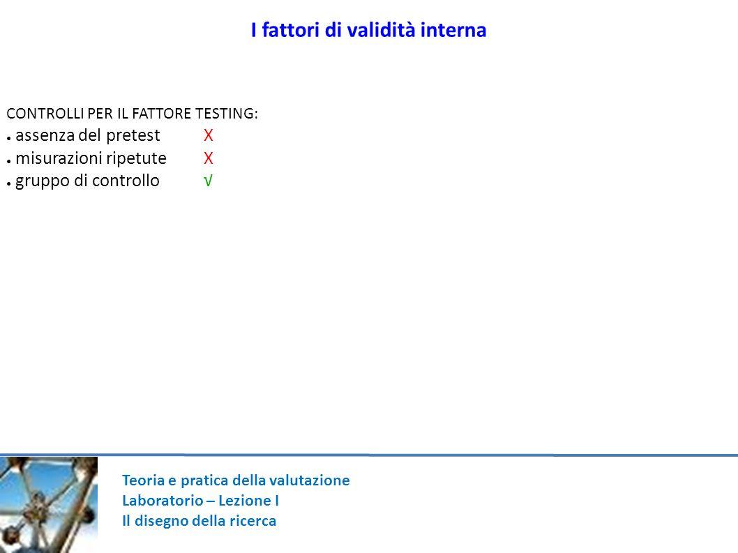 Teoria e pratica della valutazione Laboratorio – Lezione I Il disegno della ricerca I fattori di validità interna CONTROLLI PER IL FATTORE TESTING: as