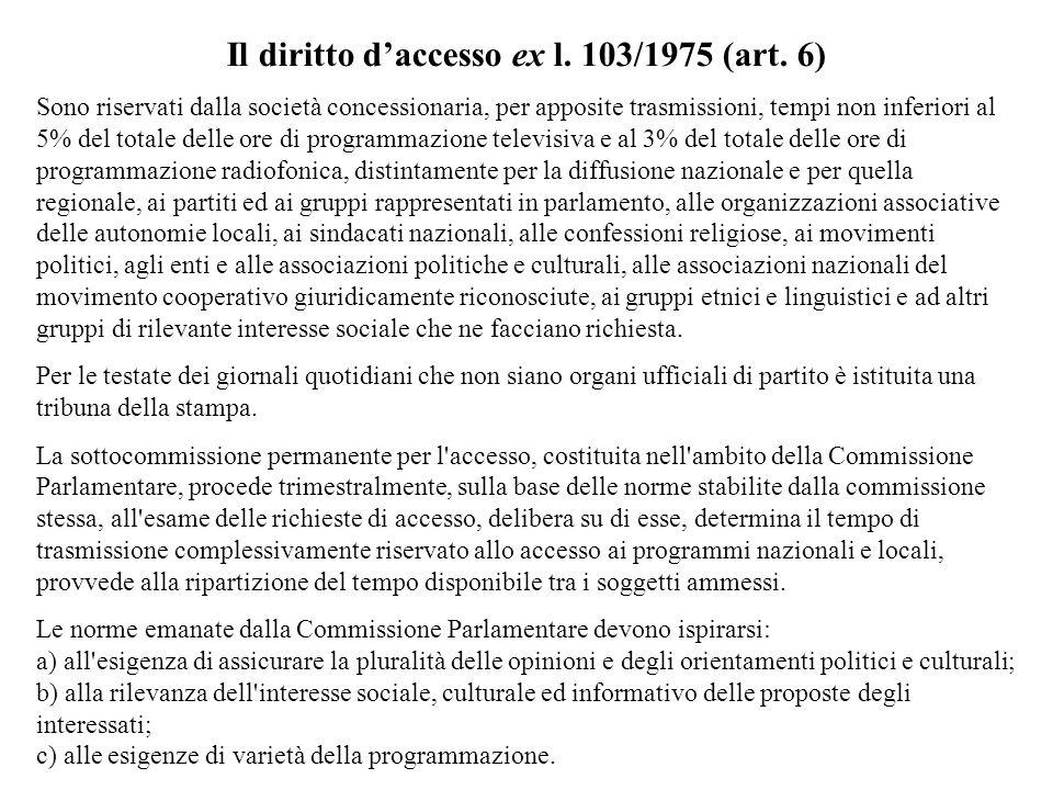 Il diritto daccesso ex l. 103/1975 (art. 6) Sono riservati dalla società concessionaria, per apposite trasmissioni, tempi non inferiori al 5% del tota