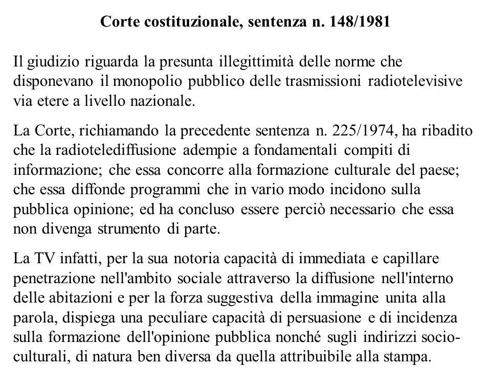 Corte costituzionale, sentenza n. 148/1981 Il giudizio riguarda la presunta illegittimità delle norme che disponevano il monopolio pubblico delle tras