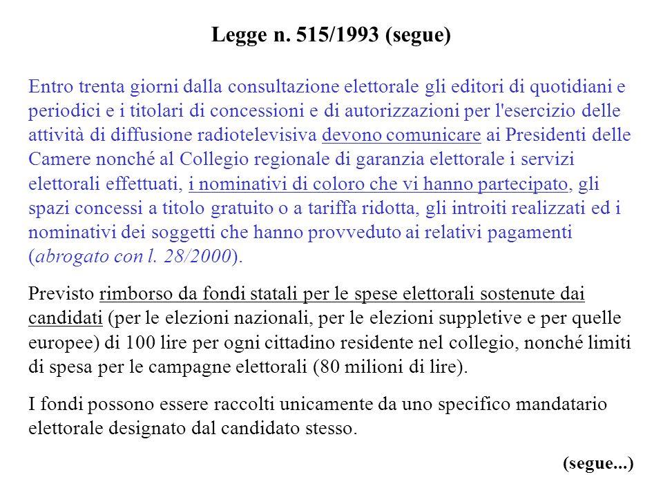 Legge n. 515/1993 (segue) Entro trenta giorni dalla consultazione elettorale gli editori di quotidiani e periodici e i titolari di concessioni e di au