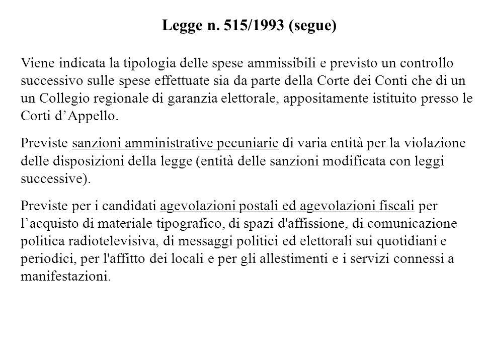 Legge n. 515/1993 (segue) Viene indicata la tipologia delle spese ammissibili e previsto un controllo successivo sulle spese effettuate sia da parte d