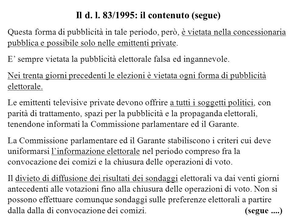 Il d. l. 83/1995: il contenuto (segue) Questa forma di pubblicità in tale periodo, però, è vietata nella concessionaria pubblica e possibile solo nell