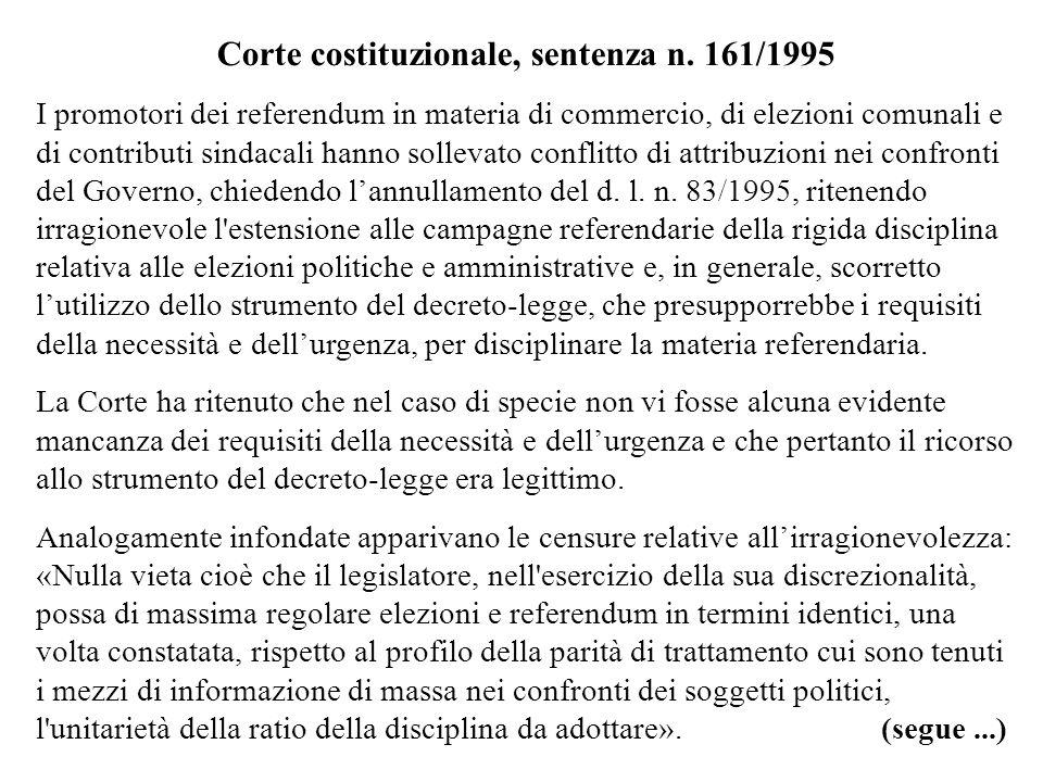 Corte costituzionale, sentenza n. 161/1995 I promotori dei referendum in materia di commercio, di elezioni comunali e di contributi sindacali hanno so