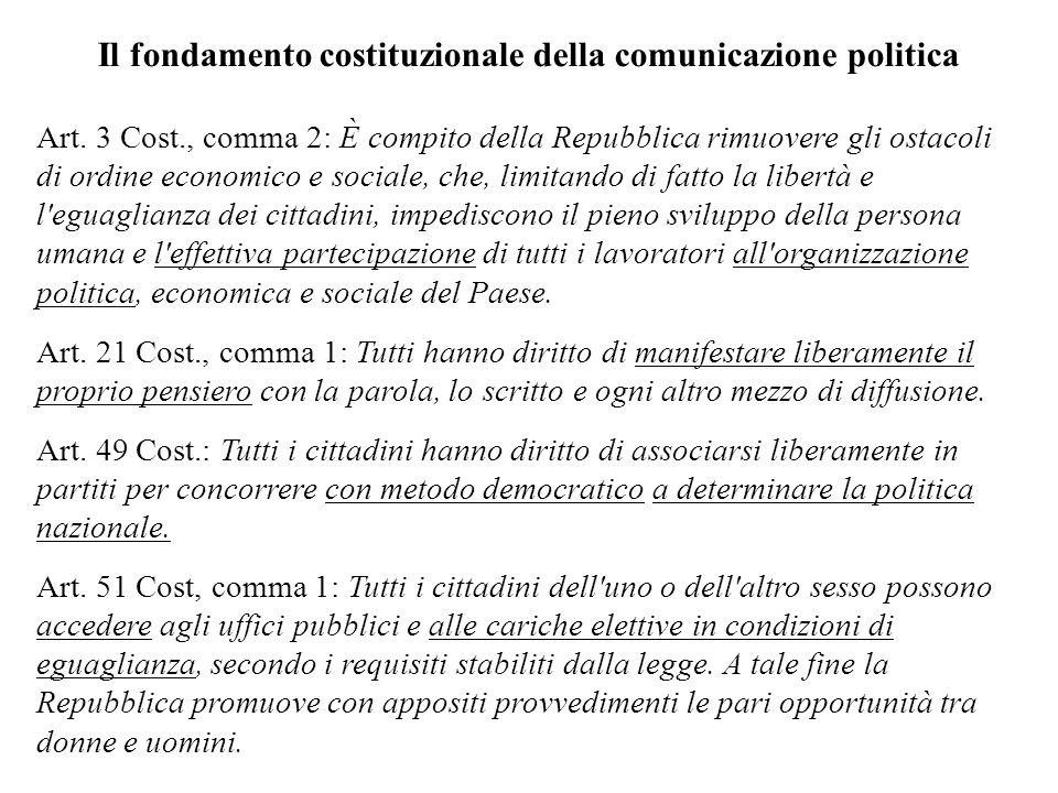 Il fondamento costituzionale della comunicazione politica Art. 3 Cost., comma 2: È compito della Repubblica rimuovere gli ostacoli di ordine economico