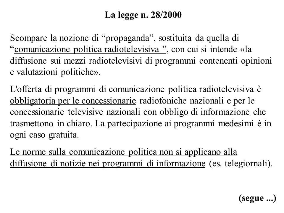 La legge n. 28/2000 Scompare la nozione di propaganda, sostituita da quella dicomunicazione politica radiotelevisiva, con cui si intende «la diffusion
